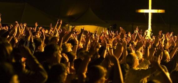 Crowd Worshiping Jesus